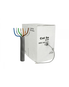 Cable  UTP  Cat.5E, 305m, CCA,24awg 4X2X1/0.50, solid gray